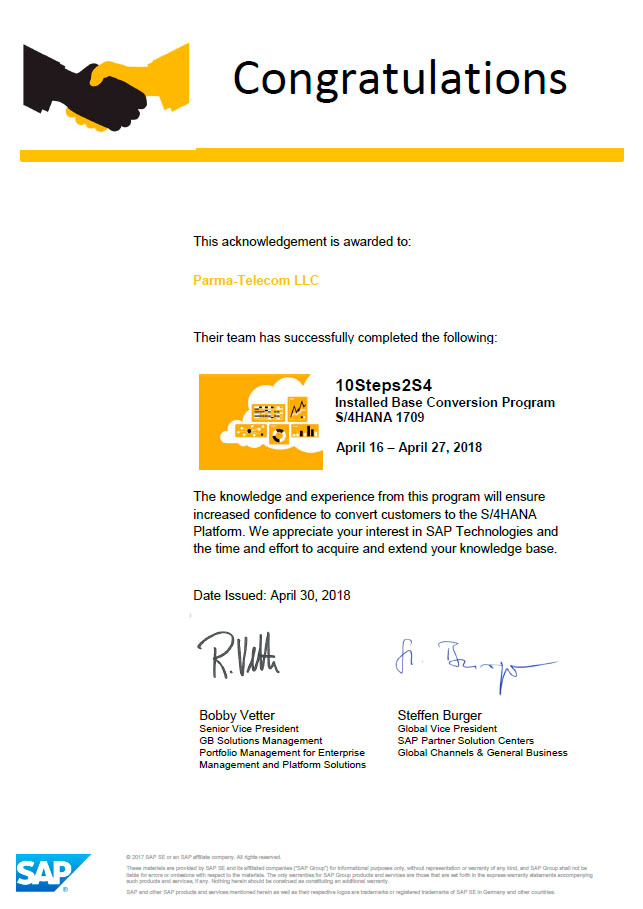 The Team Of Itps Consultants Is Awarded Certification For Sap S4